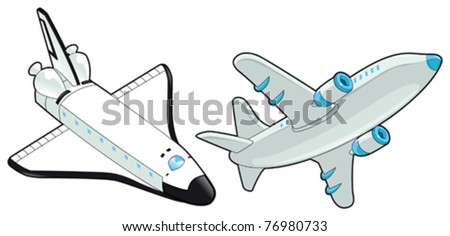 Airplane and shuttle. Vector isolated object. - stock vector