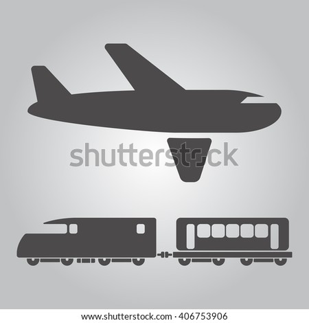Airplane and train Icons - stock vector