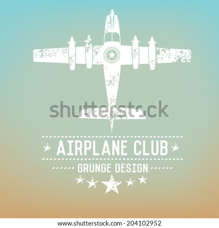 Airplane badge grunge symbol on blur background,vector - stock vector