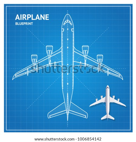 Apartment floor plan blueprint furniture top stock vector airplane blueprint plan top view white contour and realistic 3d detailed aviation jet vector illustration malvernweather Gallery