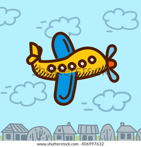 airplane cartoon vector - stock vector