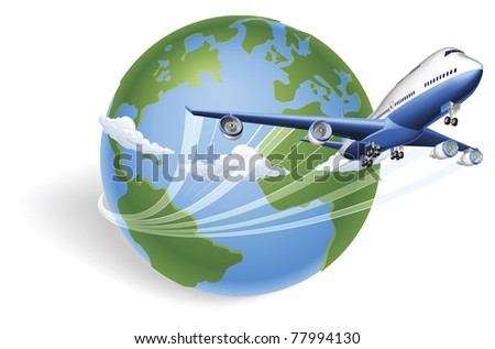 Airplane circling the globe and flying out - stock vector
