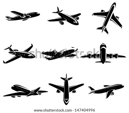 Airplane collection. Vector - stock vector