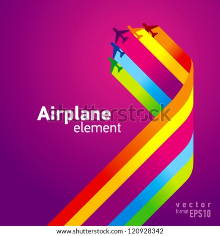 airplane colored background takeoff - stock vector