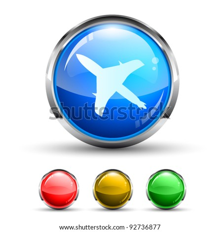 Airplane Cristal Glossy Button with light reflection and Cromed ring. 4 Colours included. - stock vector