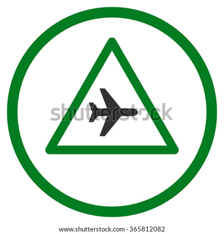 Airplane Danger vector icon. Style is bicolor flat circled symbol, green and gray colors, rounded angles, white background.