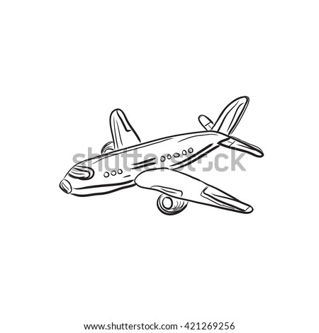 airplane design element sketch vector illustration