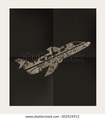 Airplane design on black background,vector - stock vector