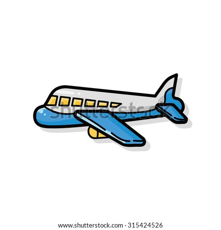 airplane doodle - stock vector