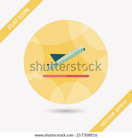 airplane flat icon with long shadow - stock vector