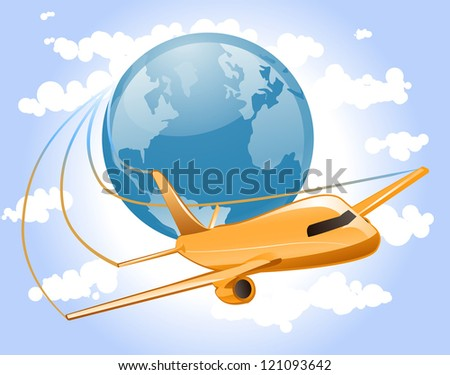 Airplane flies across the sky circling the globe representing world travel. - stock vector