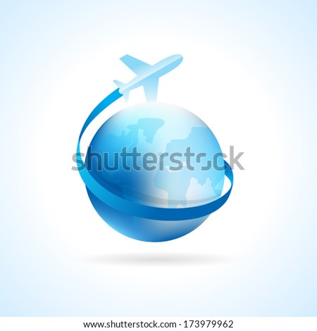 airplane flight air fly travel takeoff blue globe element - stock vector
