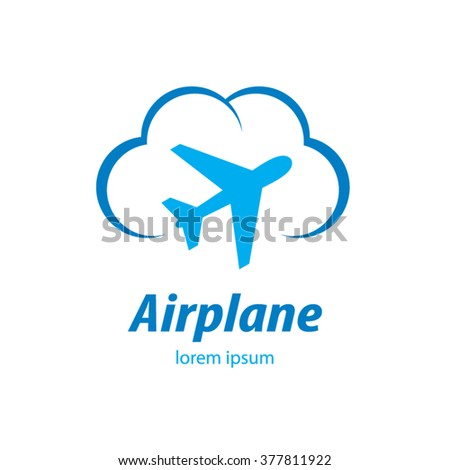 airplane flight tickets air fly travel takeoff blue logo - stock vector