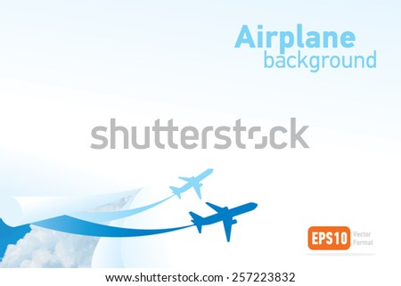 airplane flight tickets air fly travel takeoff cloud blue silhouette background vector - stock vector