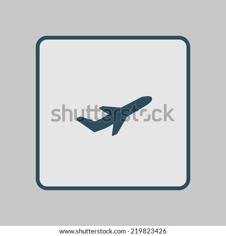 Airplane flight tickets air fly travel takeoff silhouette element. Plane symbol. Travel icon. Flat design. EPS 10. - stock vector