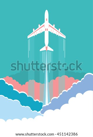 Airplane flying in sky.Vector clouds background
