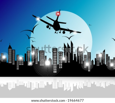 Airplane flying on the city - stock vector