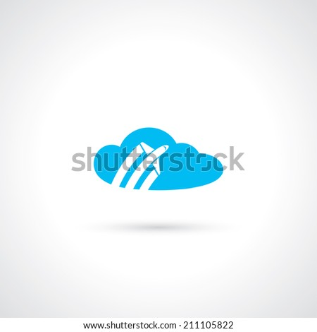 Airplane flying over clouds - vector illustration - stock vector