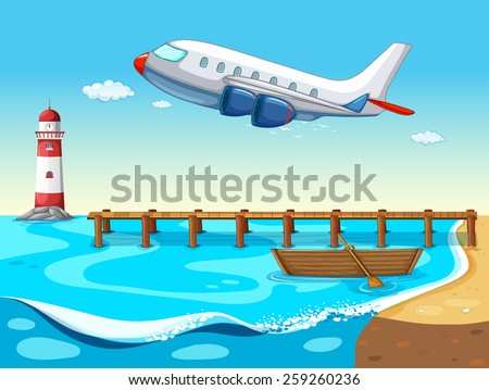 Airplane flying over the ocean - stock vector