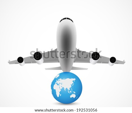 airplane flying with world travel - stock vector