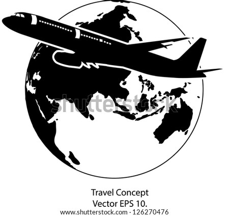 Airplane for Travel Around the World Vector Illustration Icon, EPS 10.