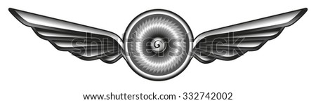 airplane glossy shield with turbine - stock vector