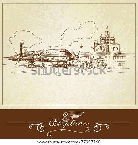 airplane-hand drawn illustration - stock vector