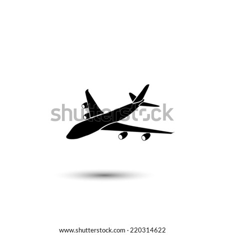 airplane icon - black vector illustration  - stock vector