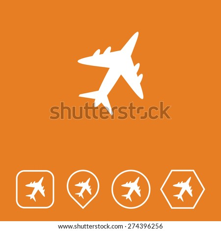 Airplane Icon on Flat UI Colors with Different Shapes. Eps-10. - stock vector