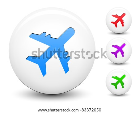 Airplane Icon on Round White Button Collection Original Illustration - stock vector