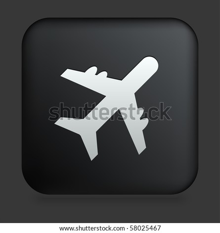 Airplane Icon on Square Black Internet Button Original Illustration - stock vector