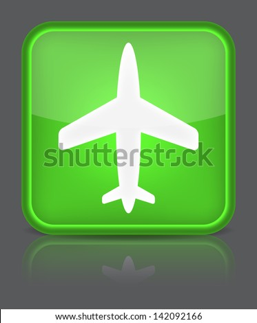 Airplane icon. Sign with reflection isolated on grey. Vector illustration - stock vector