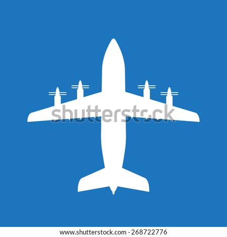 Airplane icon with screw. Vector plane or aircraft silhouette isolated on blue background. - stock vector