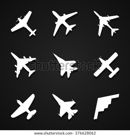 Airplane icons set: passenger plane, fighter plane and screw on dark background with shadow. Vector Illustration - stock vector