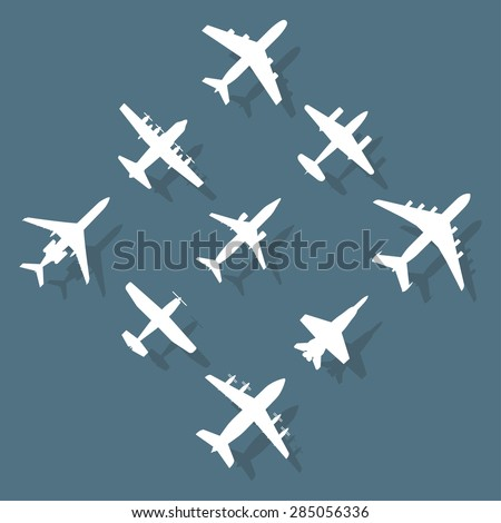 Airplane icons set with shadow. Vector silhouettes of passenger aircraft, fighter plane and screw. - stock vector