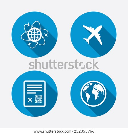 Airplane icons. World globe symbol. Boarding pass flight sign. Airport ticket with QR code. Circle concept web buttons. Vector - stock vector