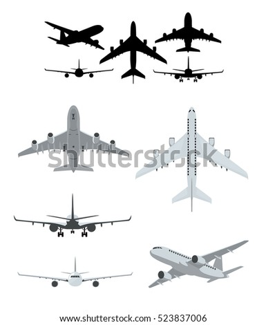 Airplane illustrations set with landing, taking off and flying airplanes