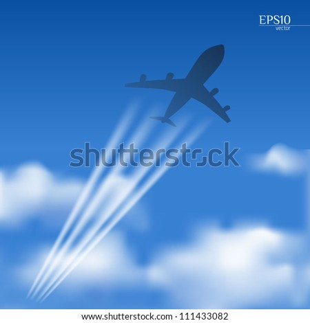 Airplane in a blue sky with clouds with white contrails - stock vector