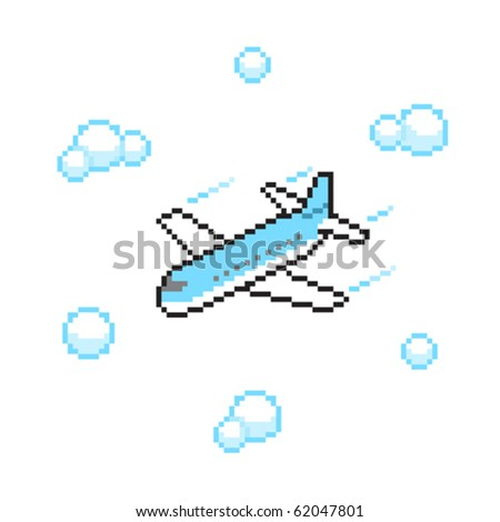 airplane in pixel art style - stock vector