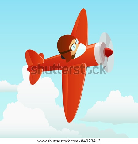 Airplane in the cloud sky with pilot. Vector illustration. - stock vector