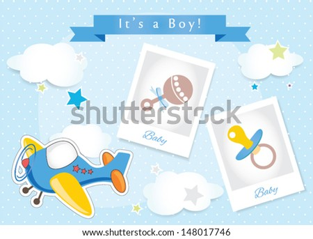 Airplane it is a boy announcement card
