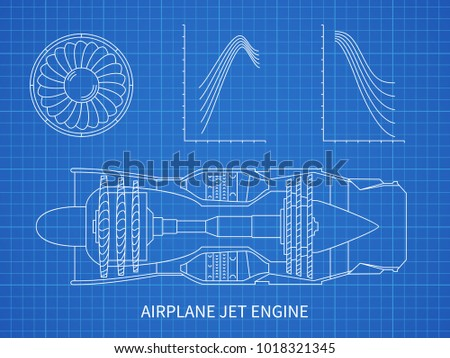 Airplane jet engine turbine vector blueprint vector de airplane jet engine with turbine vector blueprint design illustration of air engine and turbine plan malvernweather Choice Image