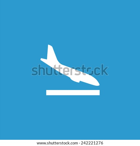 airplane landing icon, isolated, white on the blue background. Exclusive Symbols  - stock vector