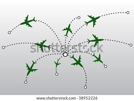 Airplane lines. Vector illustration. - stock vector