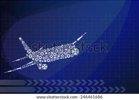 Airplane made by gear decoration vector - stock vector