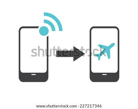 Airplane mode - flight mode - stock vector