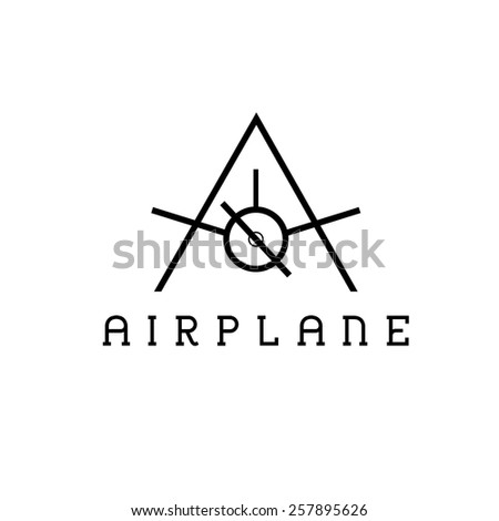 airplane monogram - stock vector