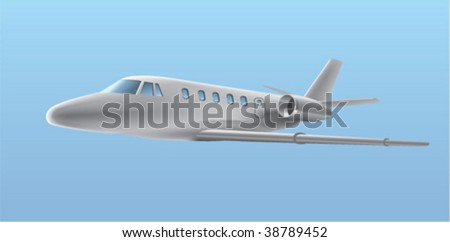 airplane on a blue background - stock vector