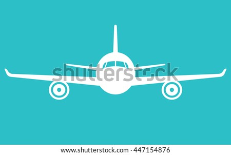Airplane on blue background. Plane flying in the sky. Front view. Aircraft flat style vector illustration. - stock vector