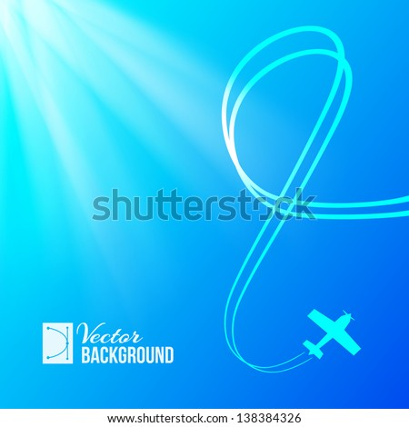 Airplane on blue background with banner. Vector illustration. - stock vector